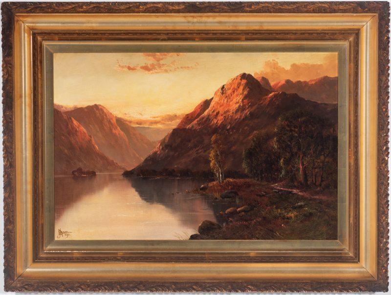 Lot 366: John Bates Noel O/C, Lakeside Mountain Landscape