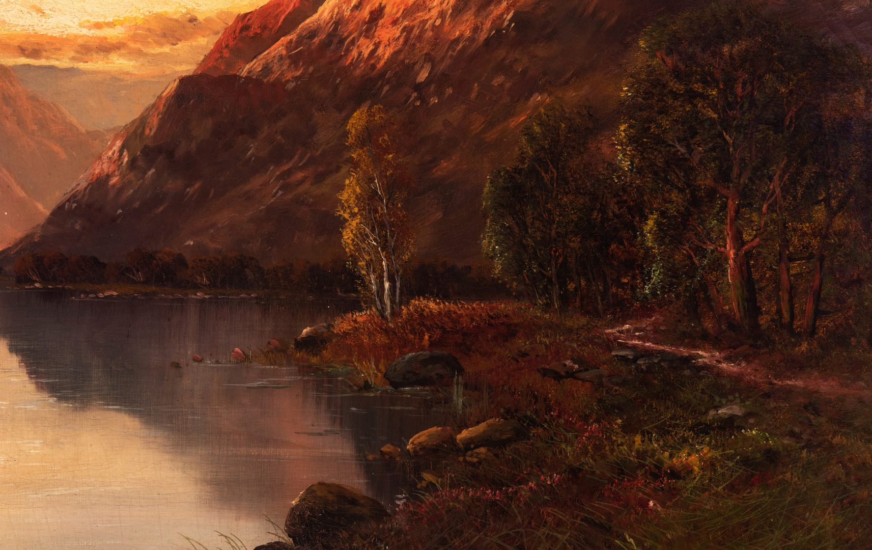 Lot 366: John Bates Noel O/C, Lakeside Mountain Landscape