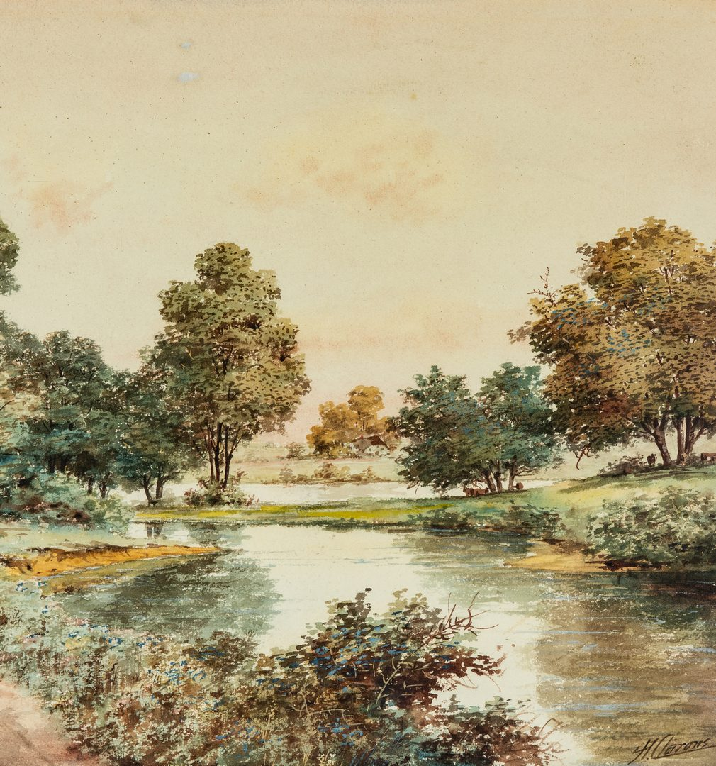 Lot 367: 2 Continental School Watercolors, signed H. Aarons