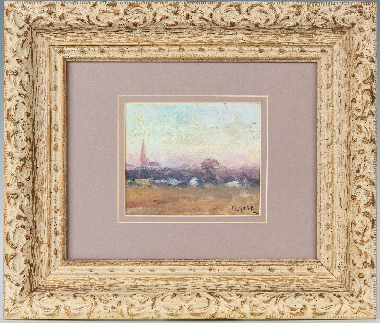 Lot 369: 2 Scenic Oil on Panel Paintings, incl. Chas. Moss