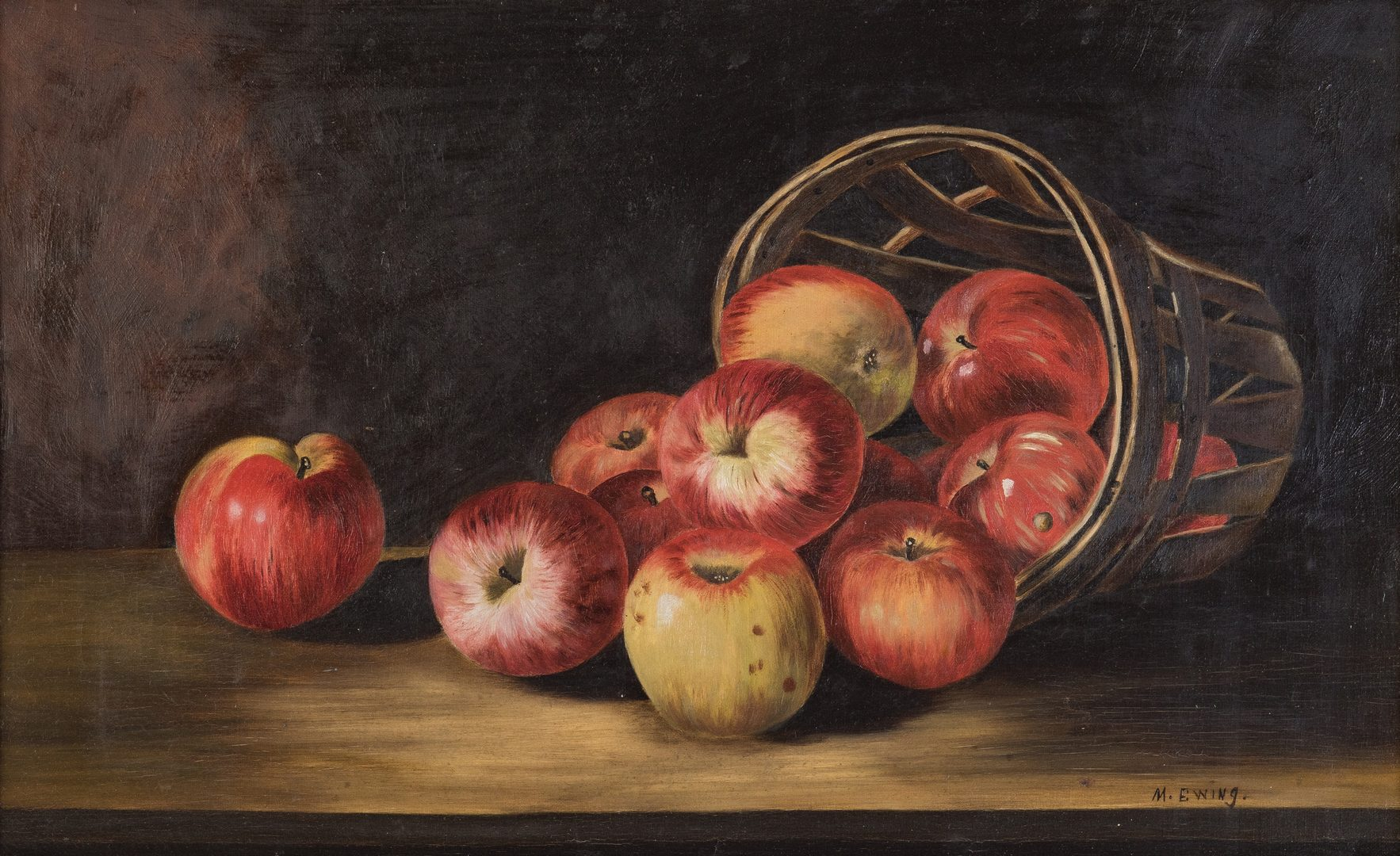 Lot 372: Still Life with Apples O/C, signed Ewing