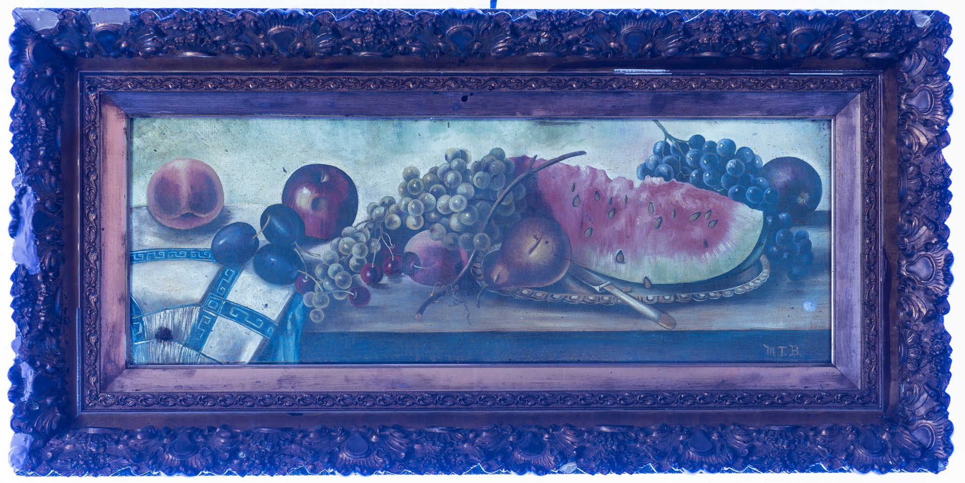 Lot 373: Signed American School O/C, Still Life w/ Fruit
