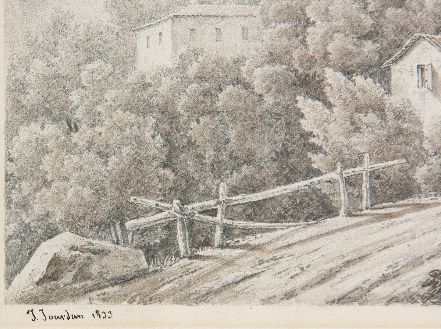 Lot 375: F. Bracquemond Etching & J. Jourdan Drawing, 2 ite