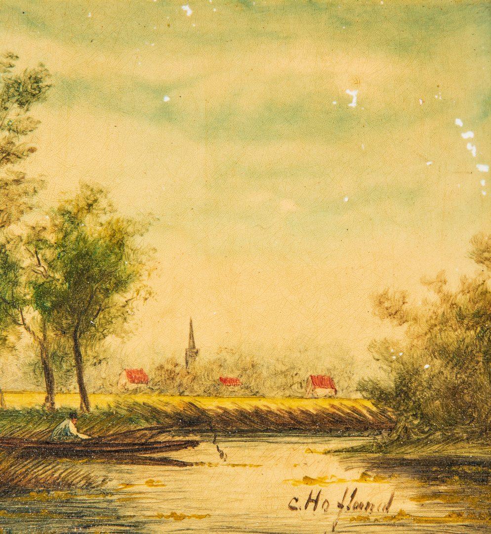 Lot 376: 2 European Miniature Landscape Paintings