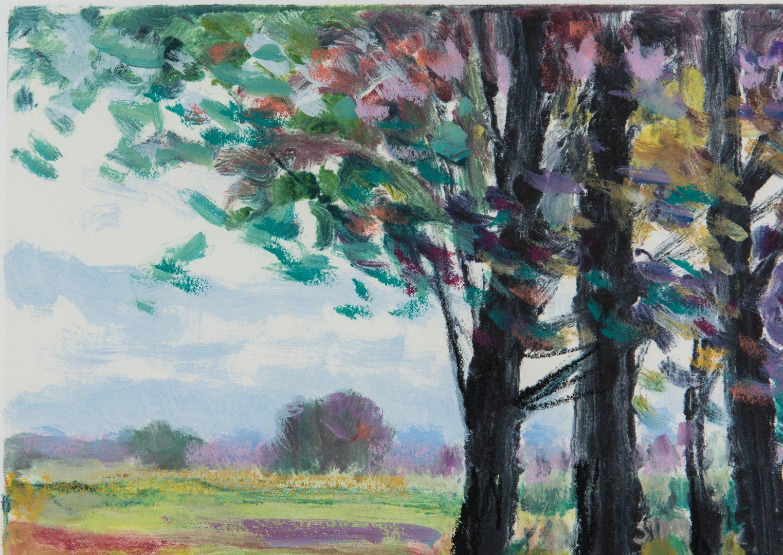 Lot 377: Michael Schofield Monoprint Abstract Landscape