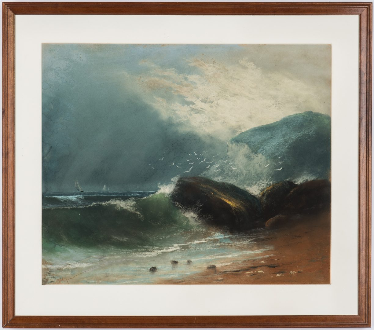 Lot 378: American Watercolor on Paper Seascape
