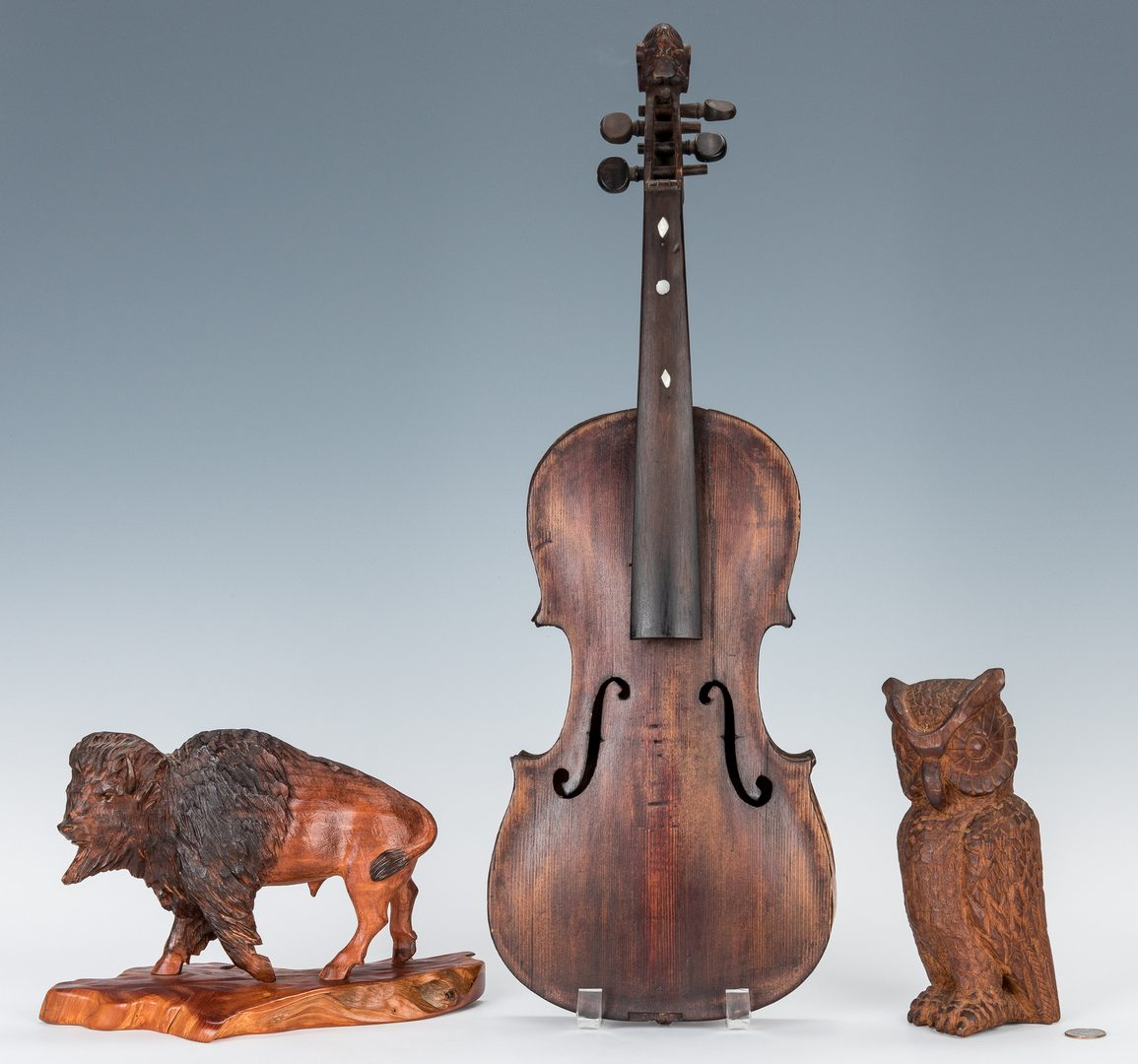 Lot 382: 2 Folk Art Carvings & Carved Fiddle, 3 items