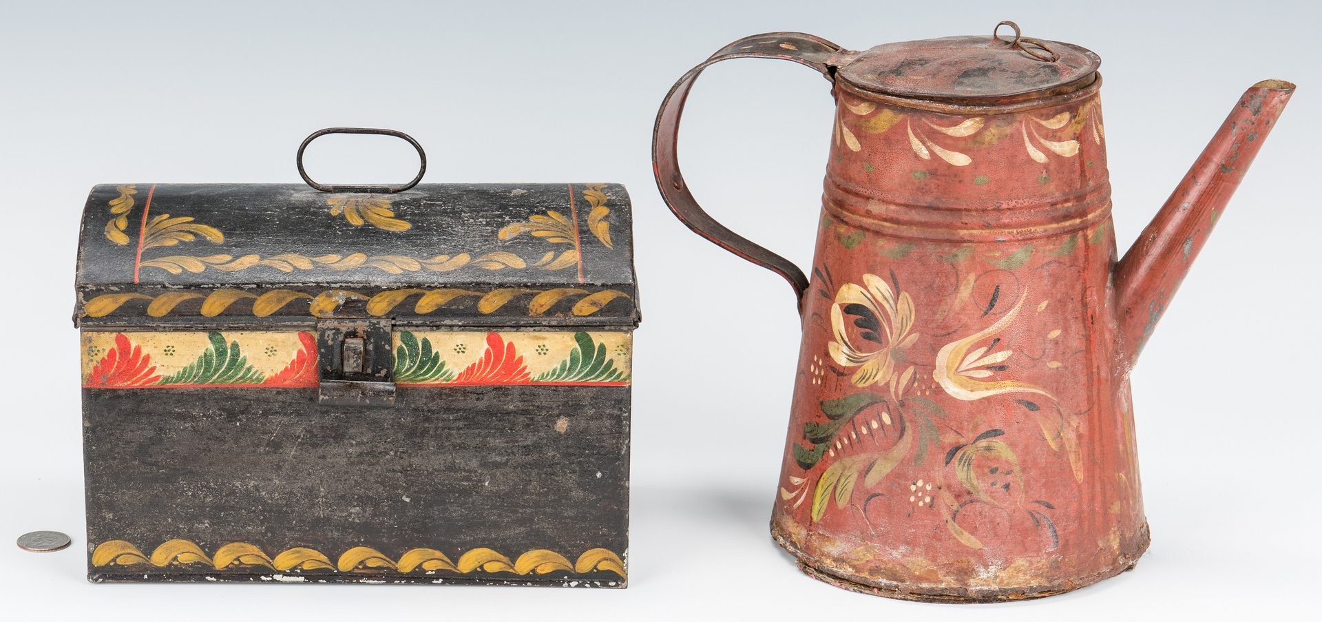 Lot 384: 2 Pieces of Toleware, Coffeepot & Box