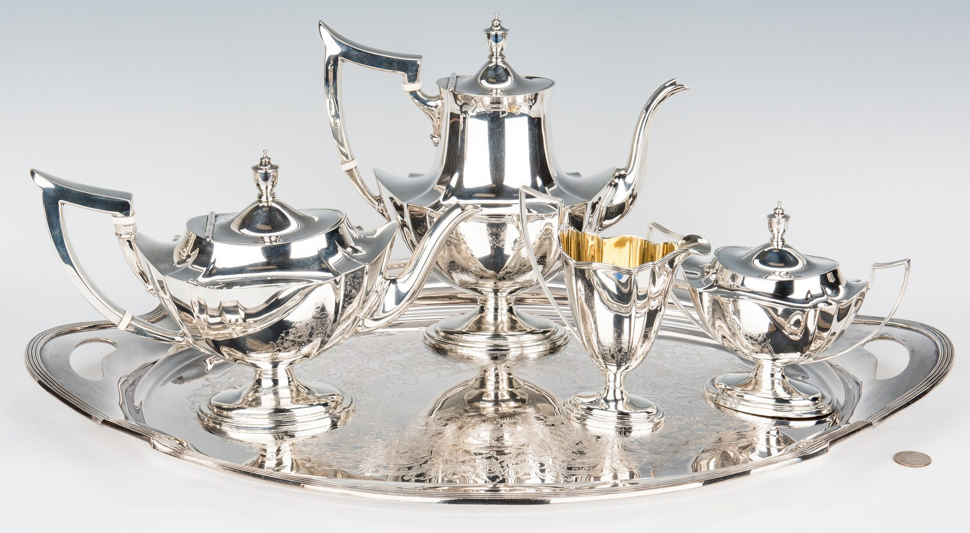Lot 38: 4-Piece Gorham Plymouth Tea Service + SP tray