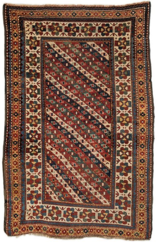 "Lot 393: Antique Caucasian Area Rug, 7'2"" x 5'"