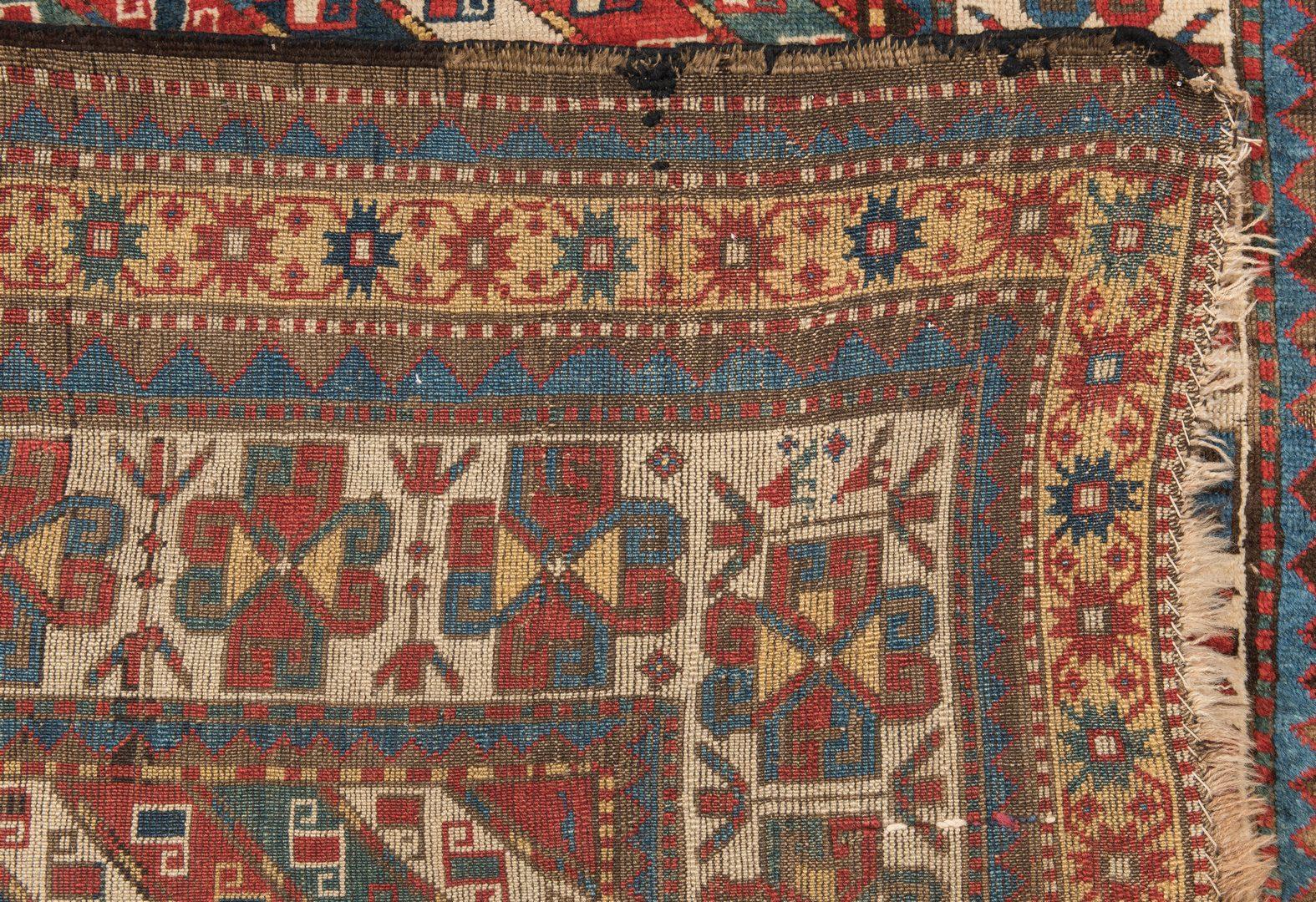 """Lot 393: Antique Caucasian Area Rug, 7'2"""" x 5'"""