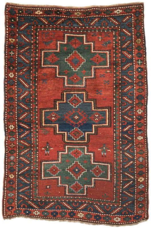 "Lot 396: Antique Kazak area rug, 3'10"" x 5'8"""