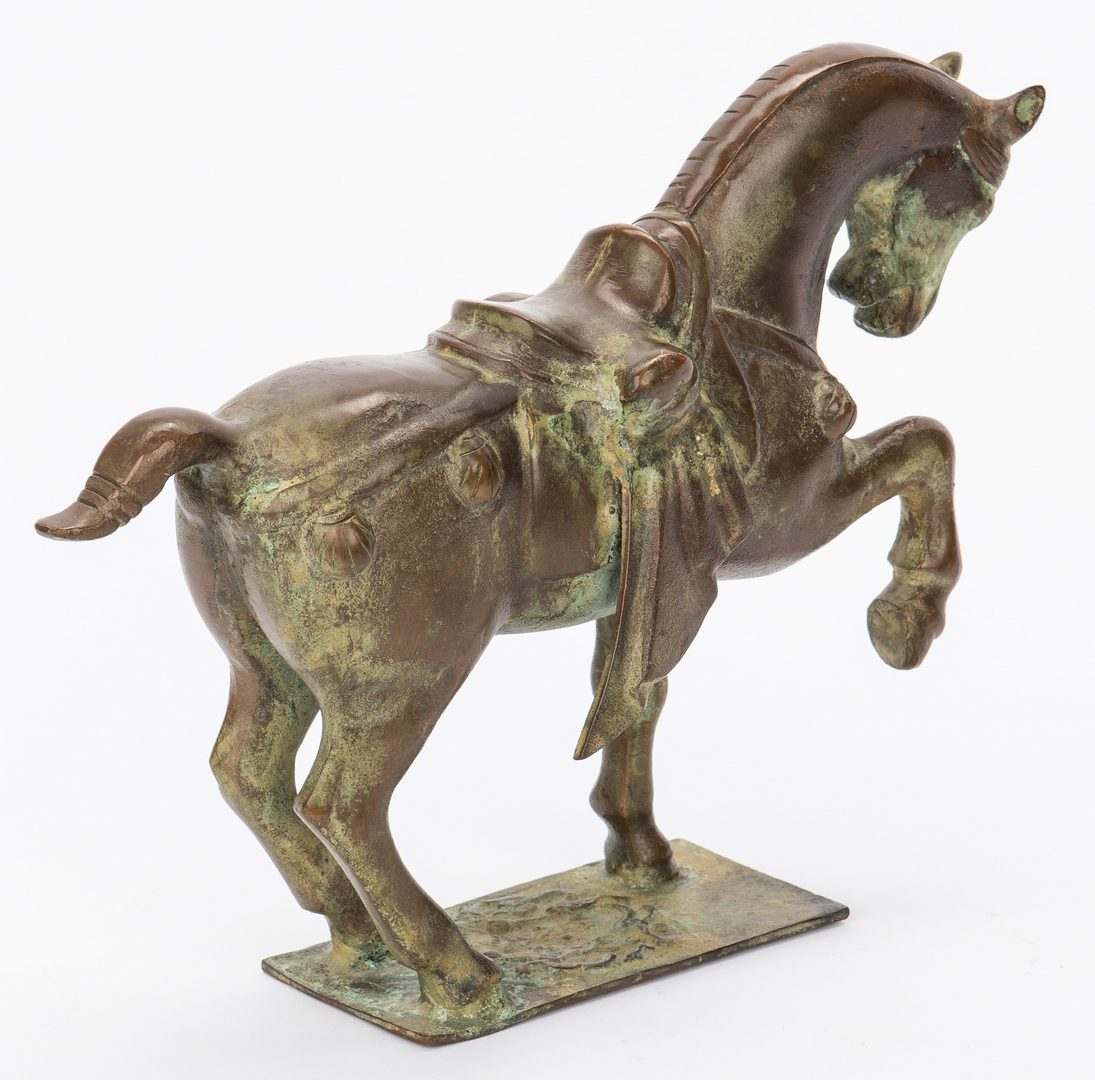 Lot 403: Chinese Tang Style Bronze Horse on Stand