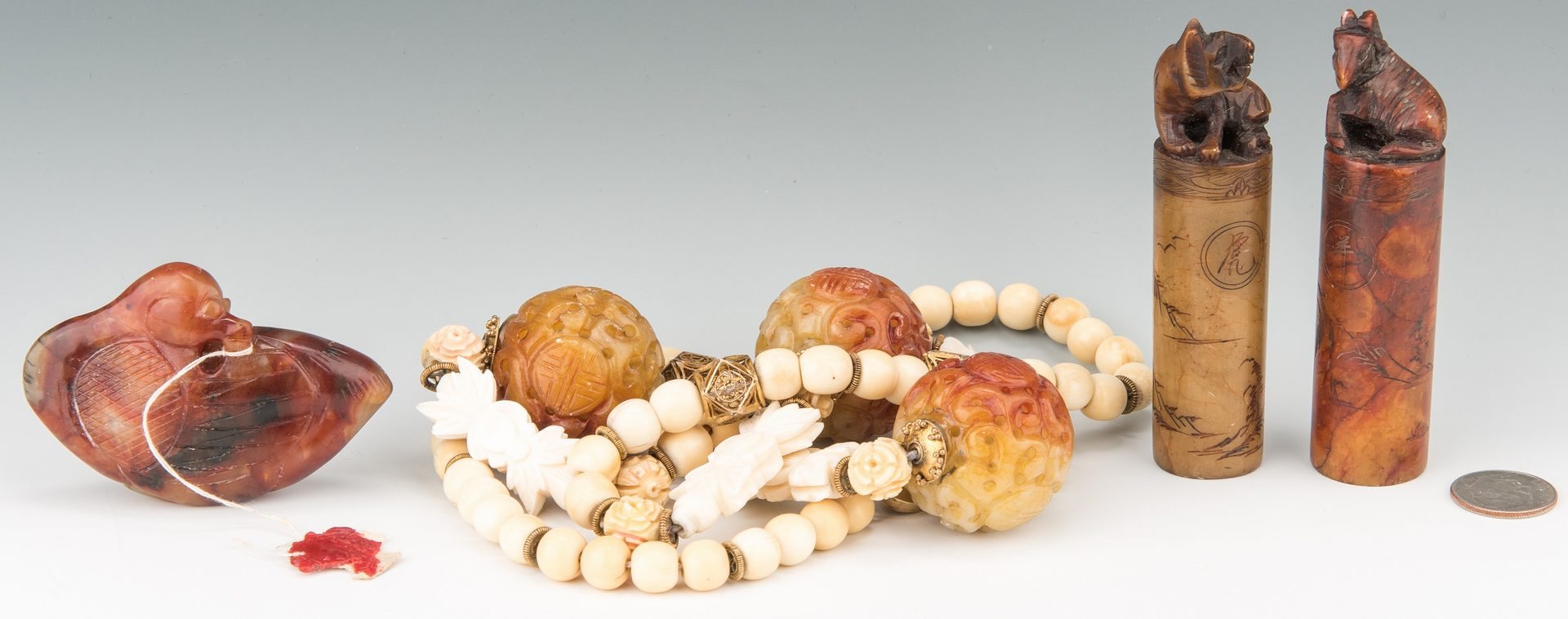 Lot 407: 3 Chinese Hardstone Items & Necklace, 4 items