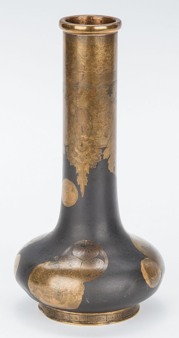 Lot 409: Japanese Meiji Bronze Mixed Metal Vase