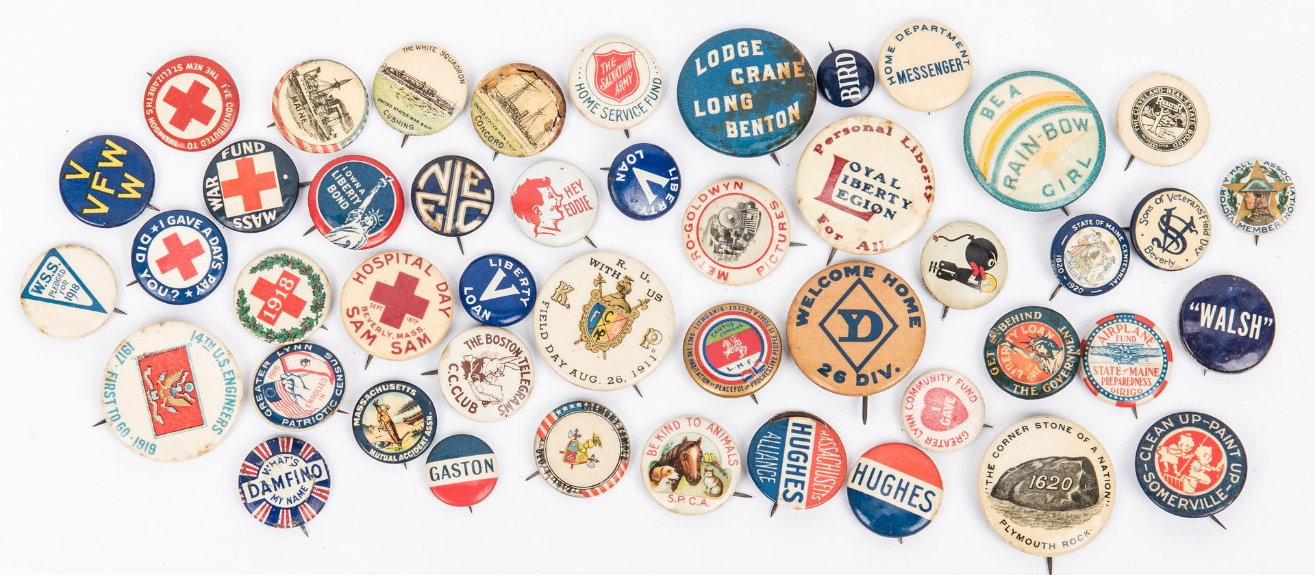 Lot 412: 88 Early Pinback Buttons, incl. Political, Cigarette, WWI, etc.