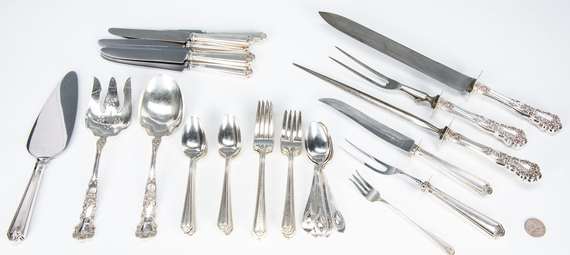 Lot 41: 38 Pcs. Sterling Flatware, Alvin Modern Colonial and more