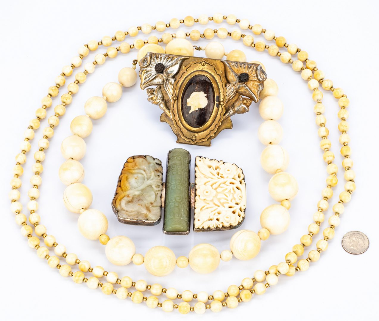 Lot 429: 2 Designer Buckles w/ 2 Necklaces, 4 items