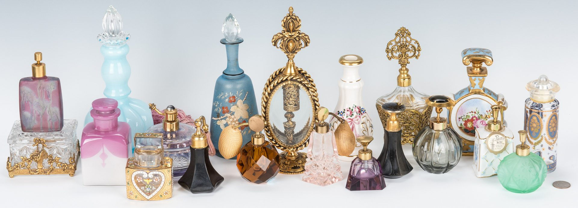 Lot 433: 20 Atomizers and Bohemian Perfume Bottles