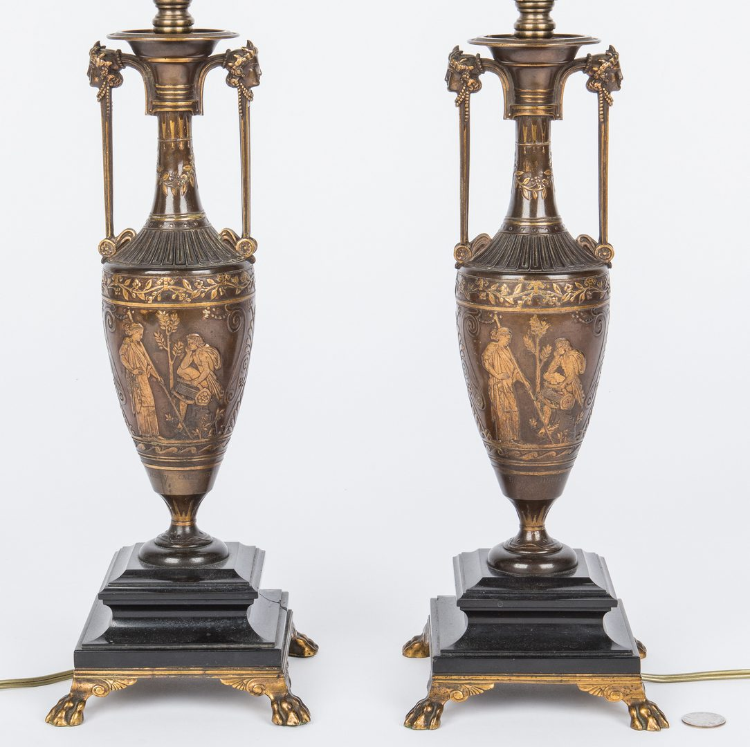 Lot 43: Pair of Barbedienne Bronze Lamps