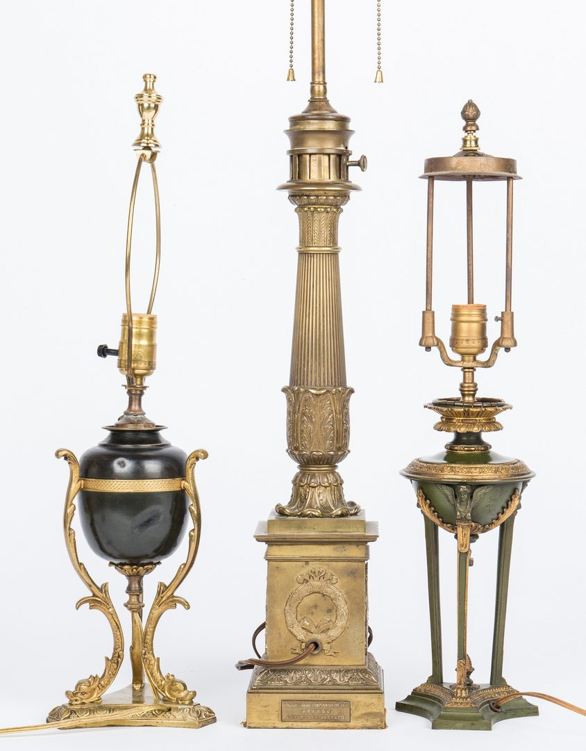 Lot 44: 3 Neoclassical Bronze Lamps