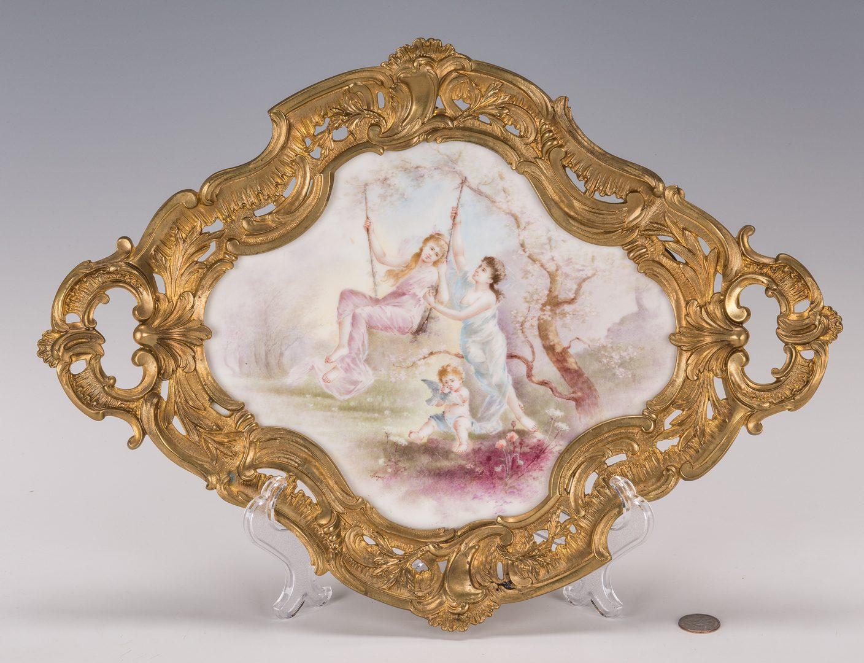 Lot 46: French Porcelain & Ormolu Plaque