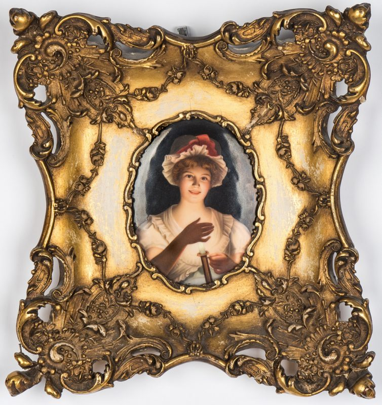 Lot 47: Framed Porcelain Plaque Signed Wagner, Woman with Candle