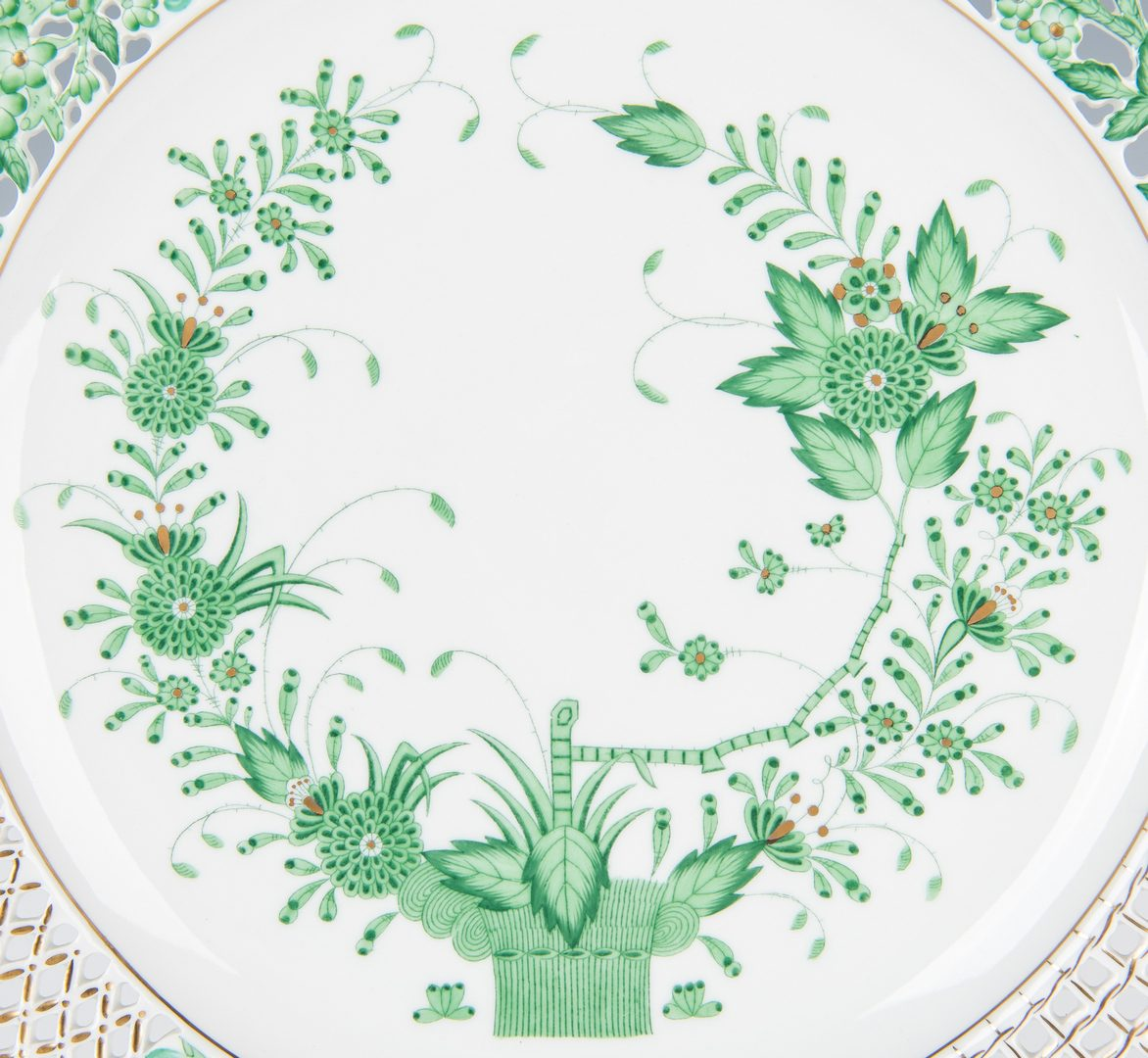 Lot 49: 2 Herend Reticulated Porcelain Chargers
