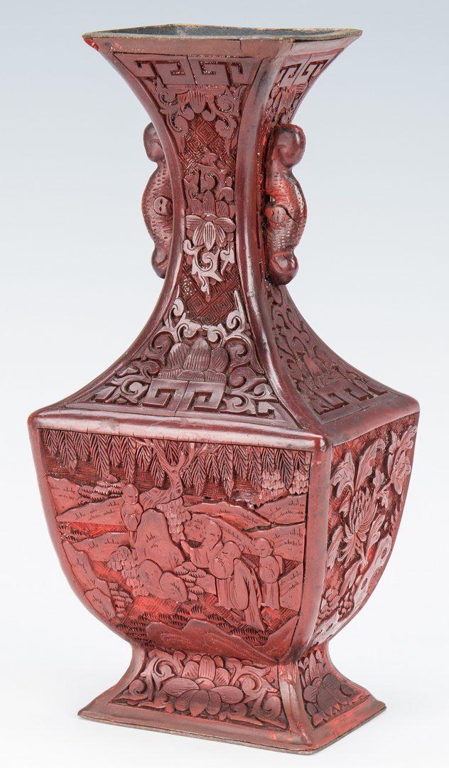 Lot 4: Cinnabar Vase, Box, Snuff Bottles, 4 items
