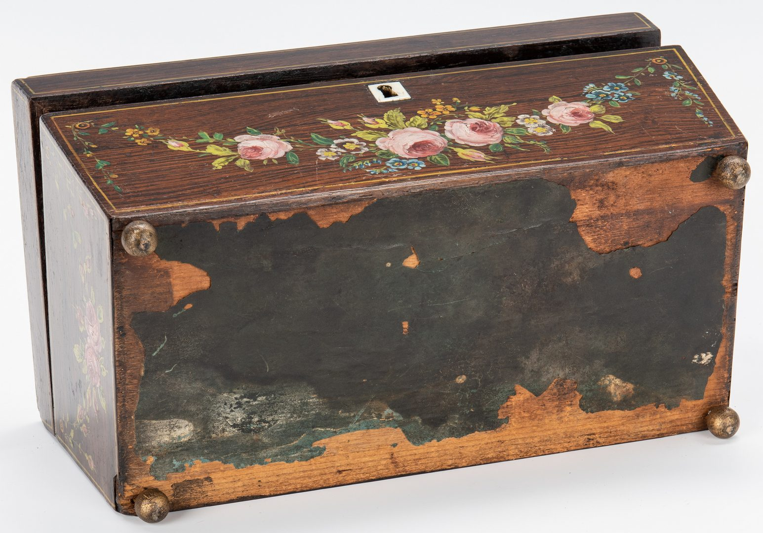 Lot 52: Pr. Imari Candleholders & Regency Tea Caddy