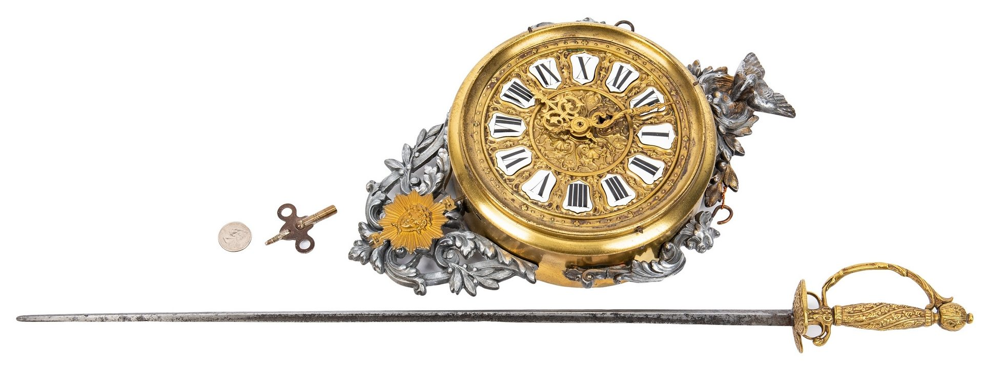 Lot 54: French Ormolu Wall Clock & French Petite Sword