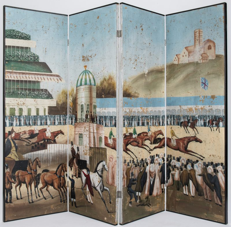 Lot 56: Painted Folding Screen, Racing Scene