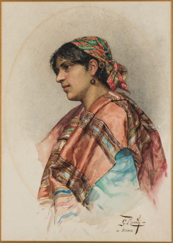 Lot 59: Giulio Rosati, Watercolor of Romani Woman