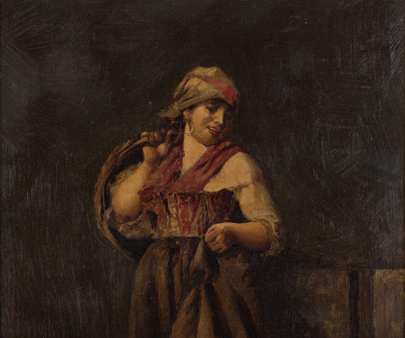 Lot 60: Italian Peasant Girl Feeding Chickens, Attr. Vincenzo Ciappa