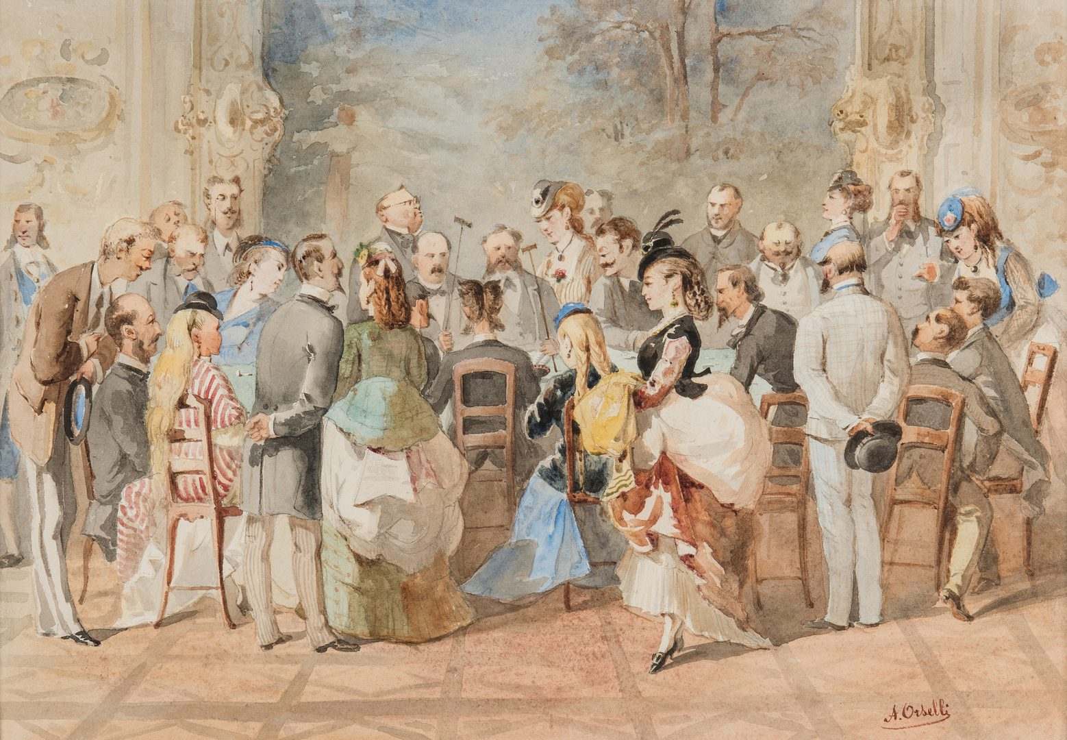 Lot 61: A. Orselli Watercolor on Paper, At the Roulette Table
