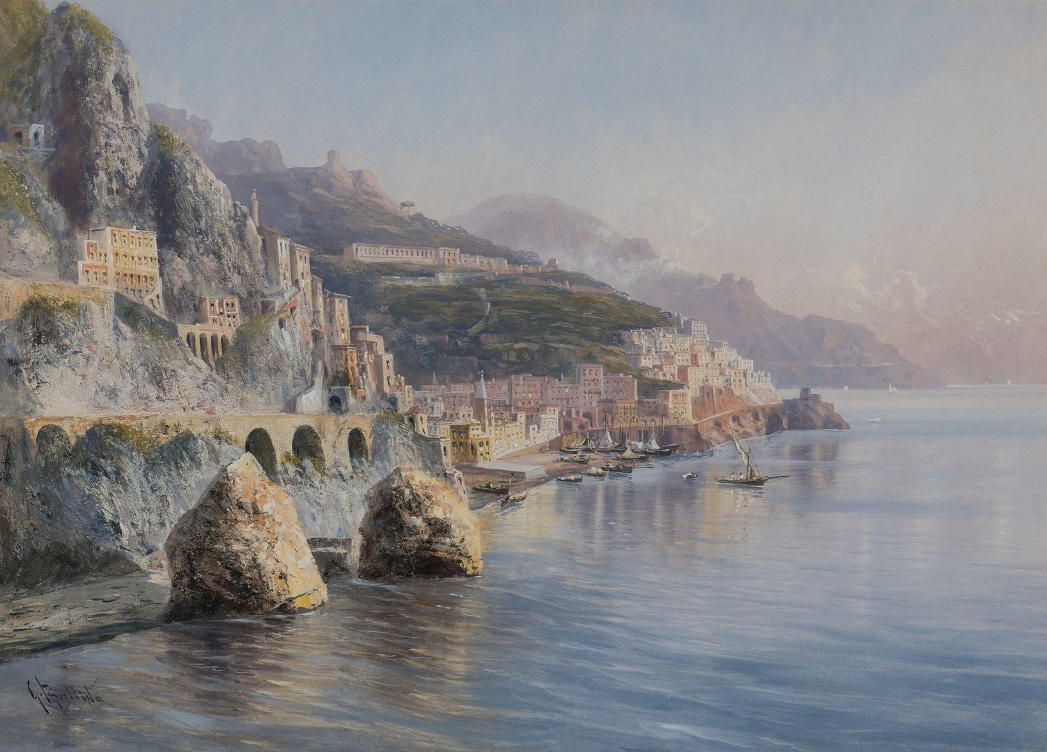 Lot 63: 2 Italian Seascape Watercolor Paintings