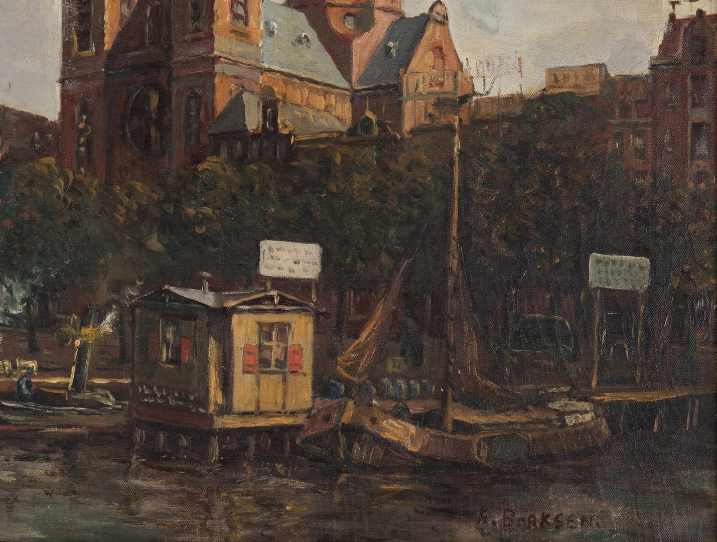 Lot 64: Amsterdam canal scene, O/C, signed Borksen