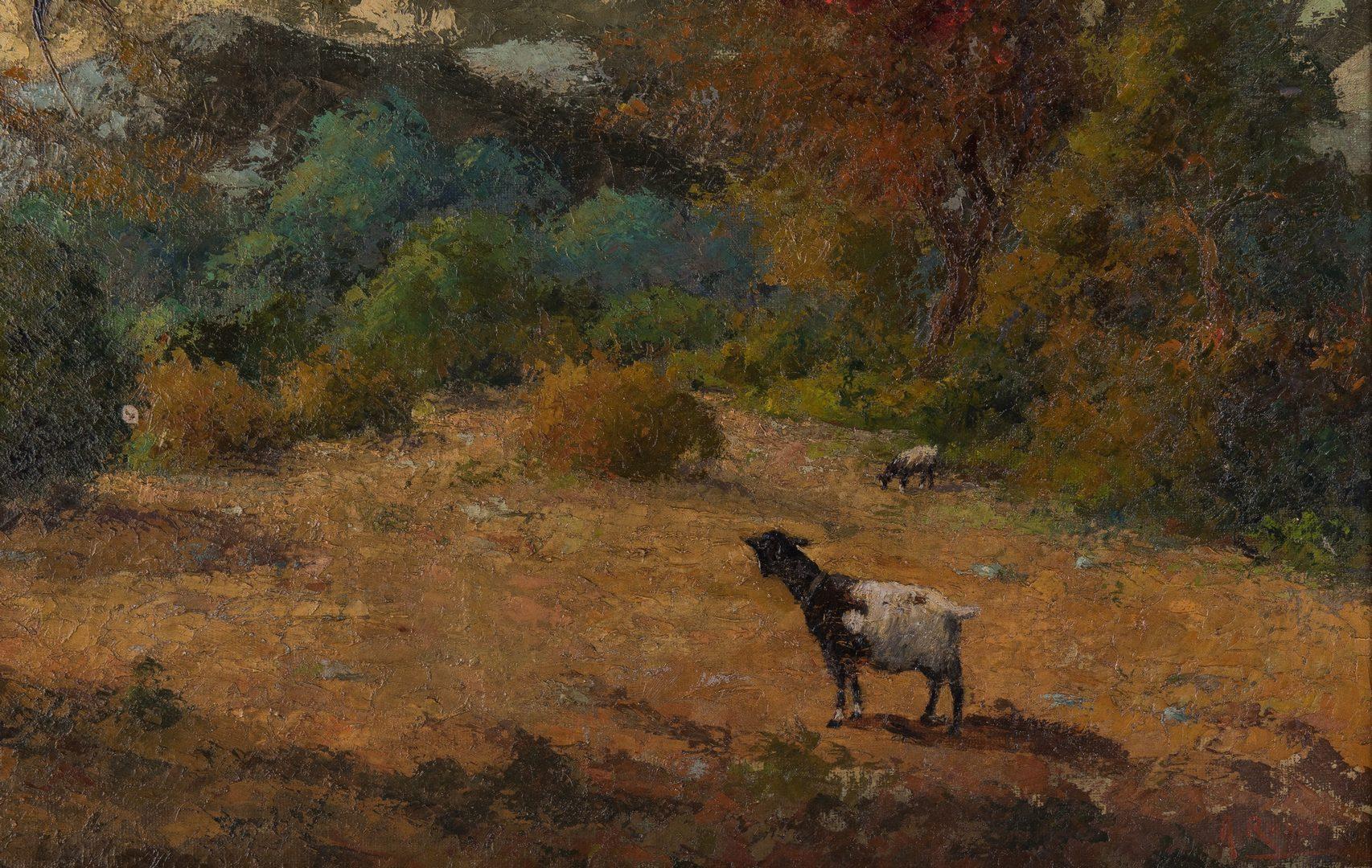 Lot 65: Alberto Rossi O/C, Landscape w/ Goats