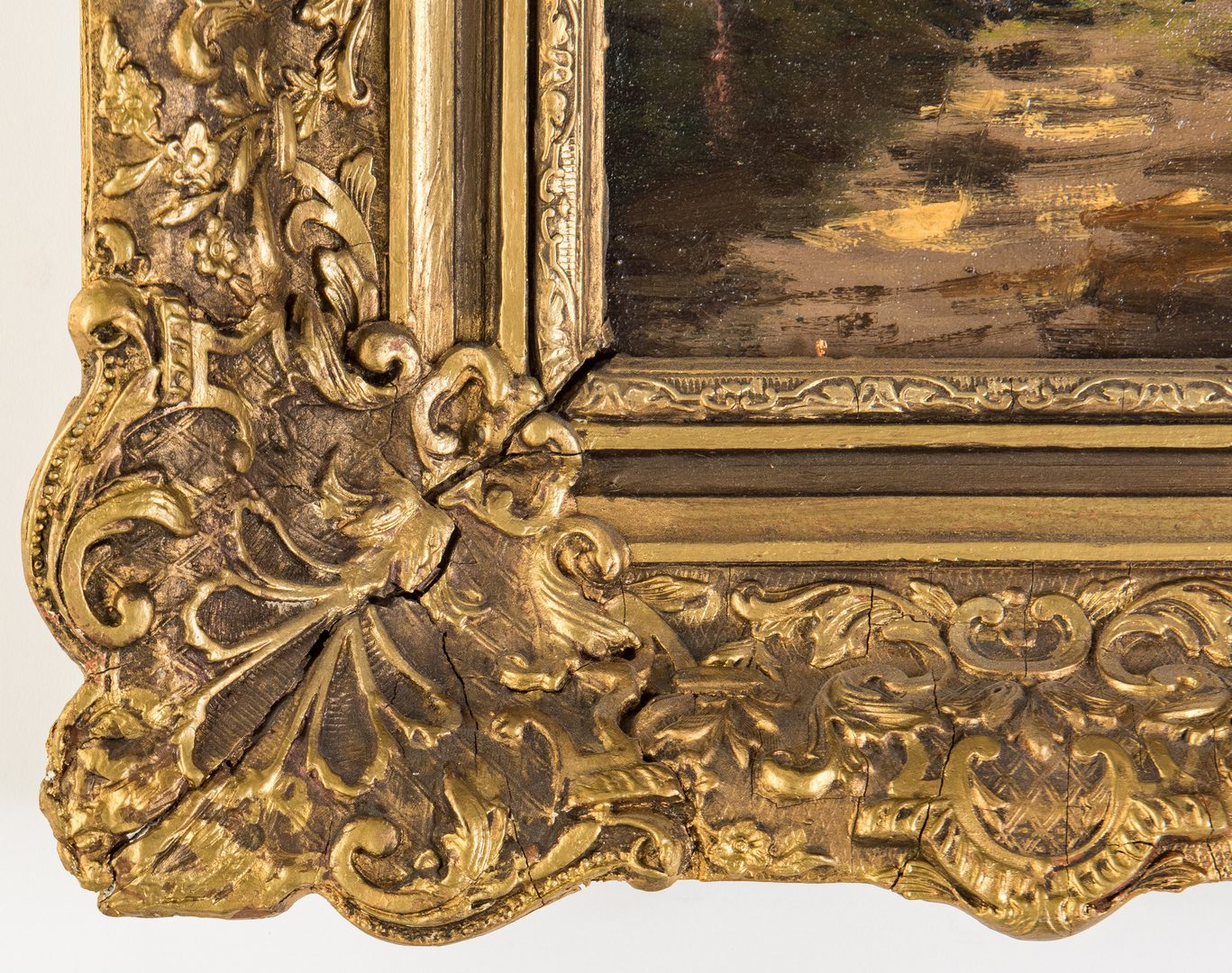 Lot 68: Continental School, 19th century Landscape in antique frame