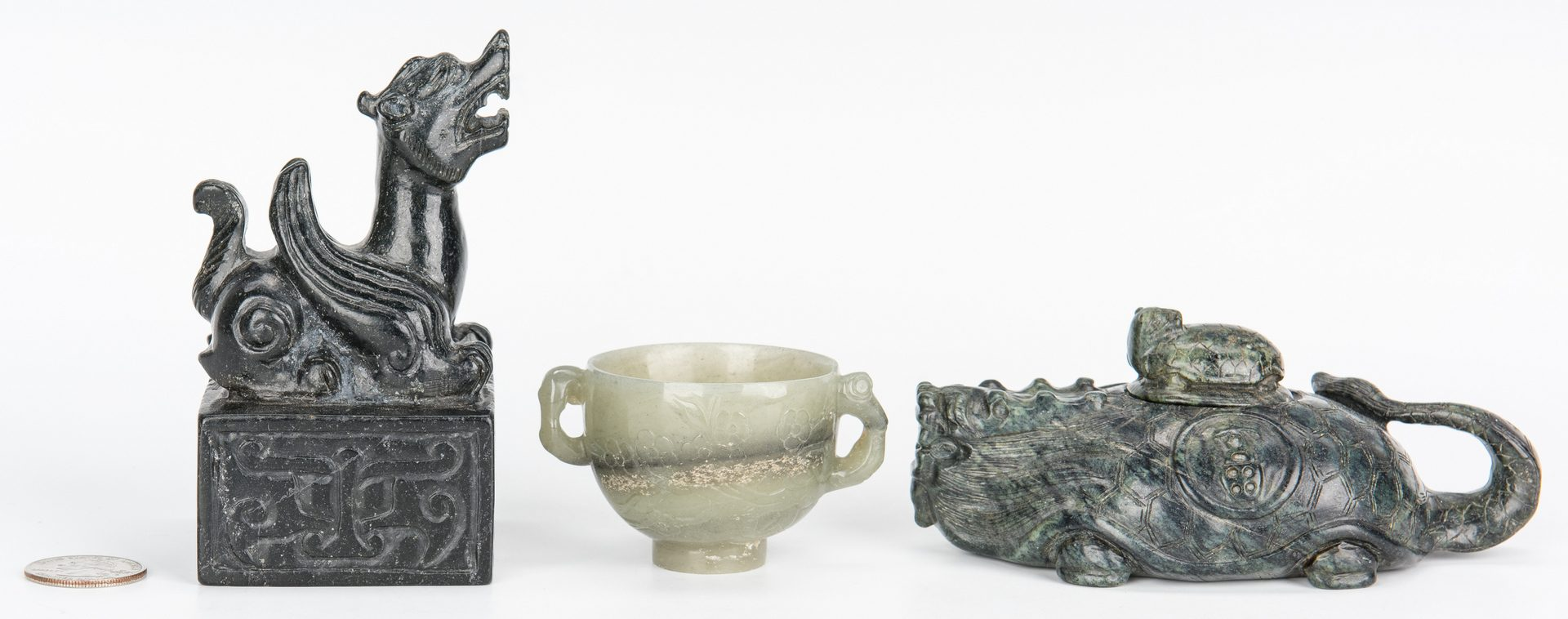 Lot 6: Jade double handle cup, water dropper and seal