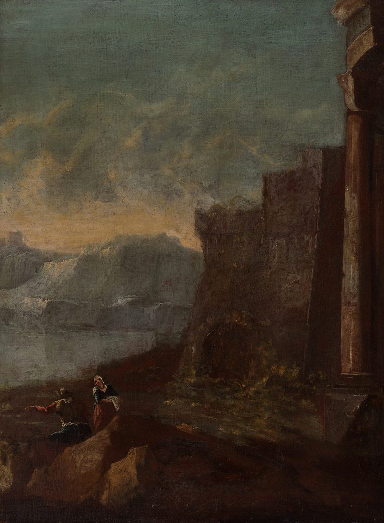 Lot 73: 19th c. Continental Landscape, Ruins
