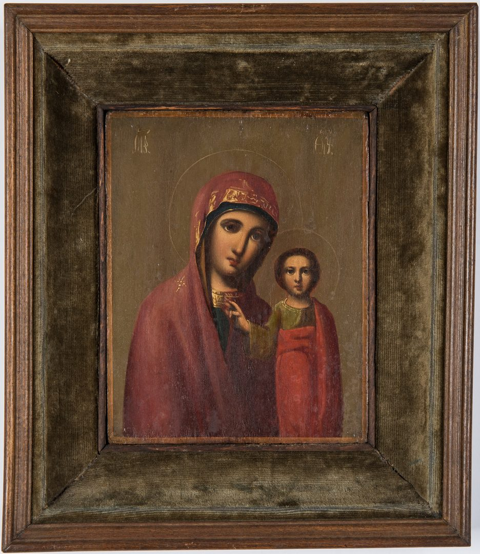 Lot 77: 2 framed religious icon paintings
