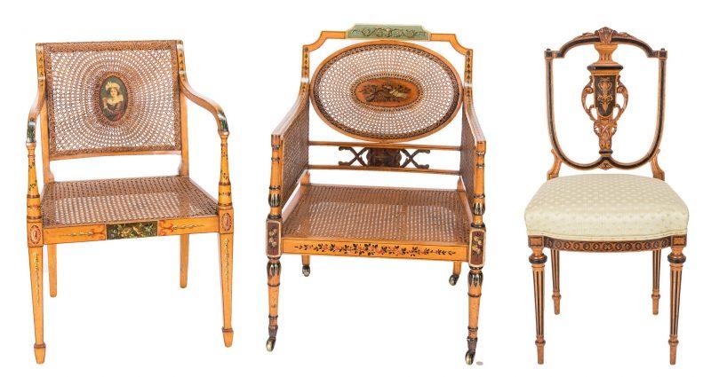 Lot 79: 2 Regency Painted Armchairs & 1 Regency Inlaid Side Chair