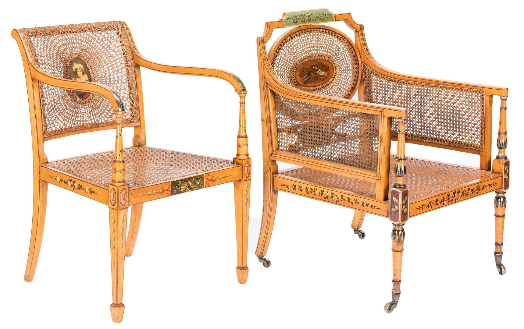 Lot 79: 2 Regency Painted Armchairs & 1 Regency Inlaid Side Chair