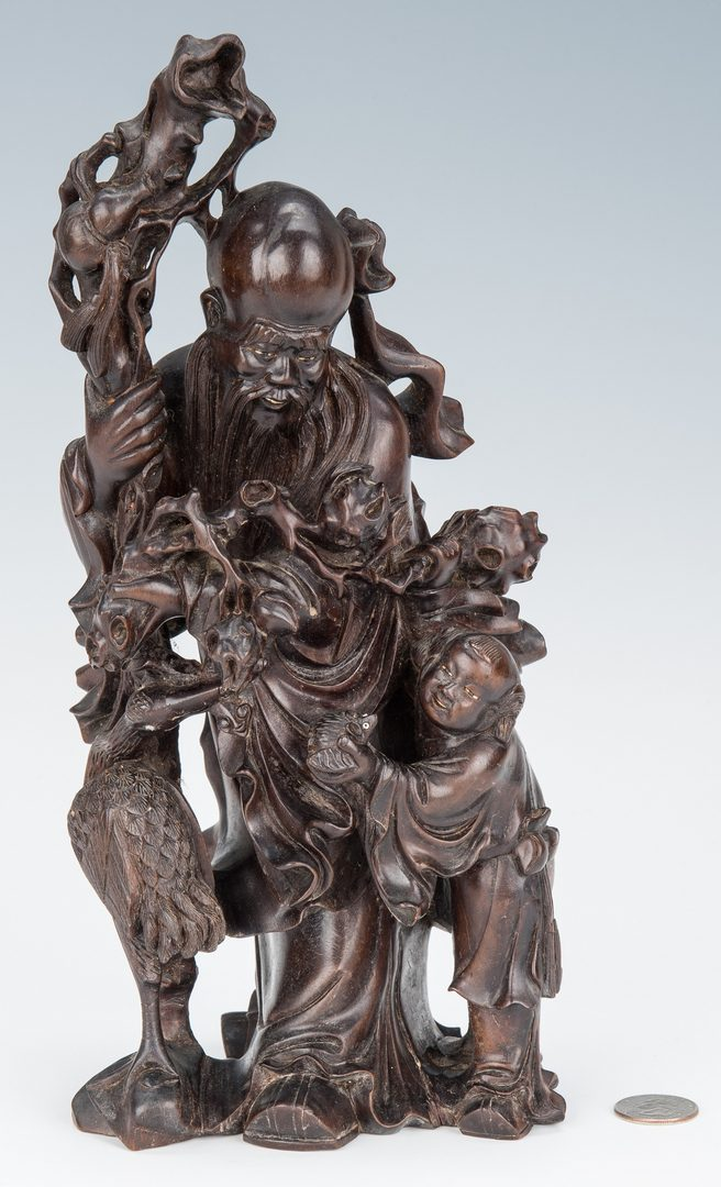 Lot 7: Carved Hardwood Figural Group, prob. Zitan