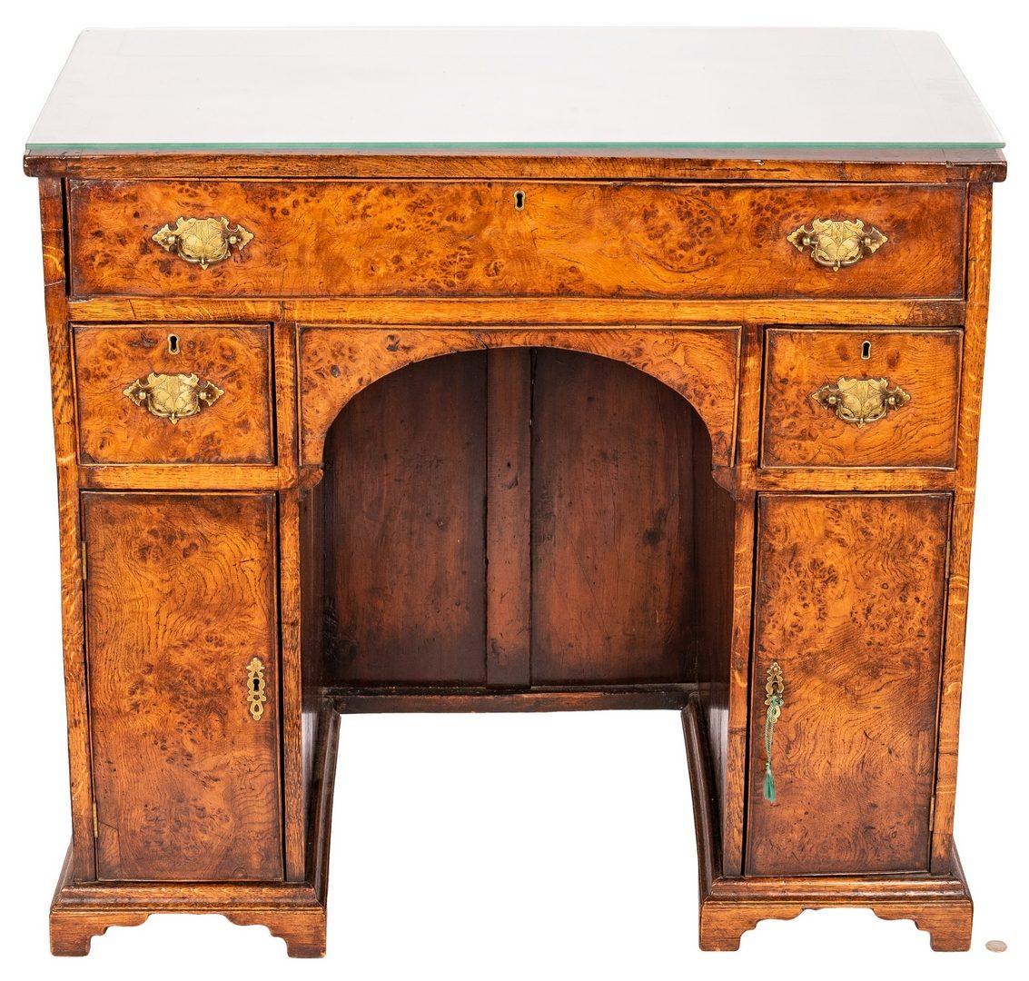 Lot 81: Queen Anne Style Burlwood Desk