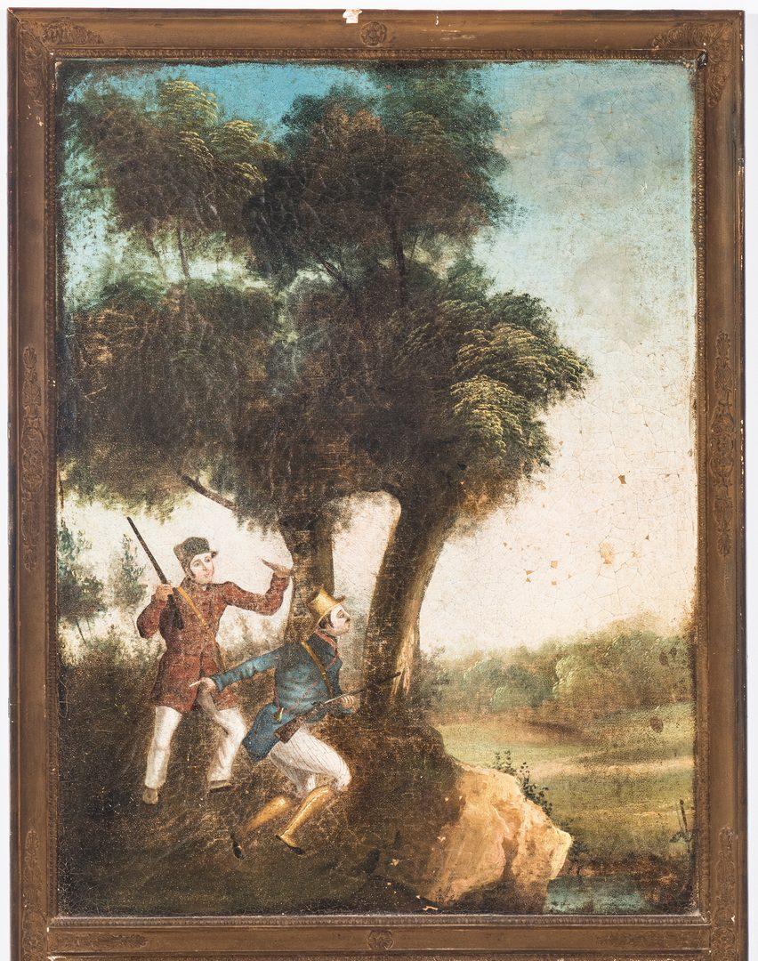 Lot 82: Continental Trumeau Mirror, Hunting Scene