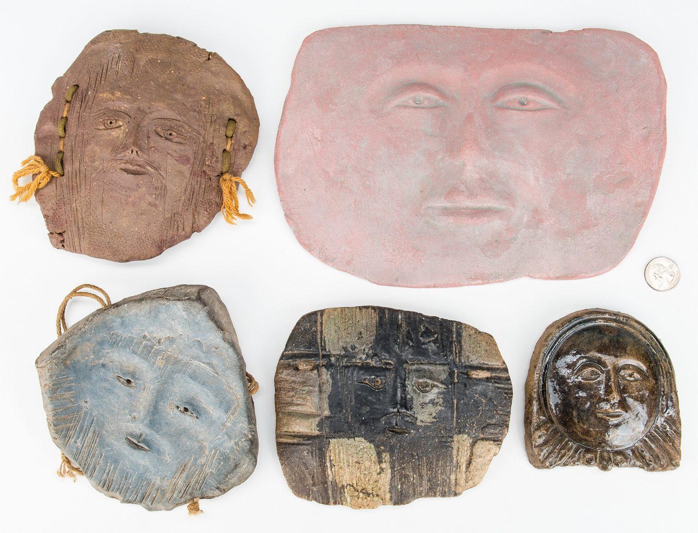 Lot 86: 5 Ceramic Faces by Olen Bryant