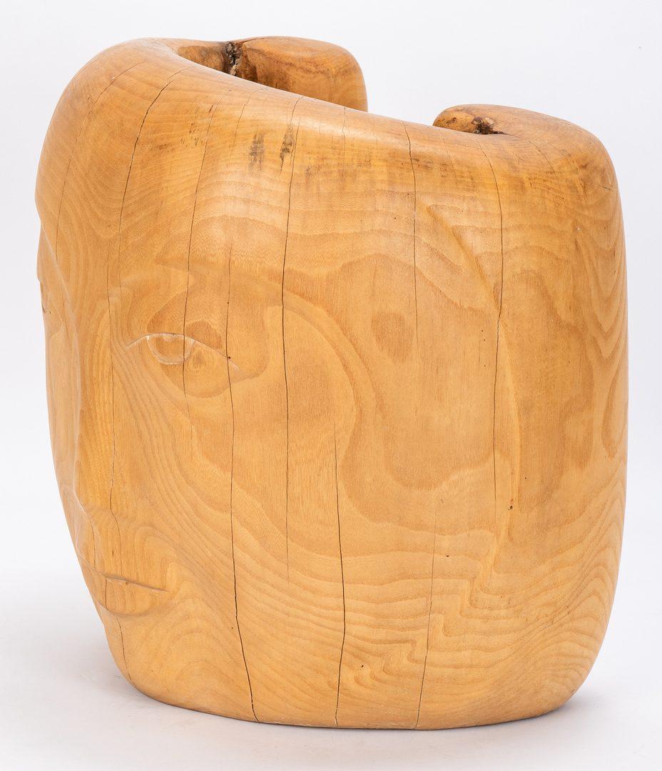 Lot 87: Olen Bryant Carved Wood Face Sculpture