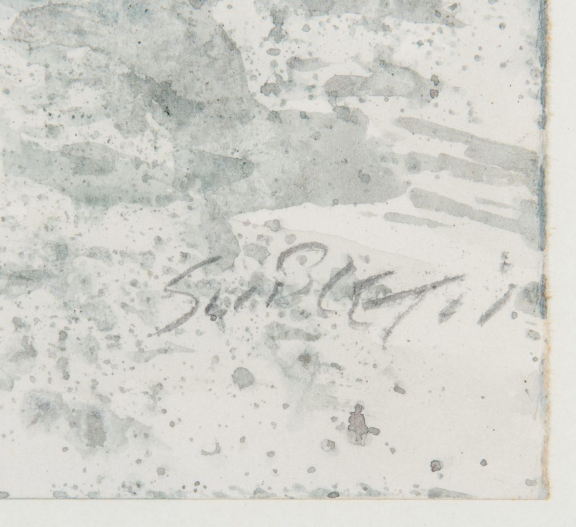 Lot 88: Carl Sublett, Watercolor Winter Scene